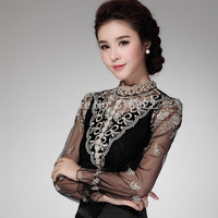 2015 new Hot Crochet Long Sleeve Shirts Vintage Women Blouses Chiffon Chemise Femme Women Lace Tops Blusas Femininas 980F58