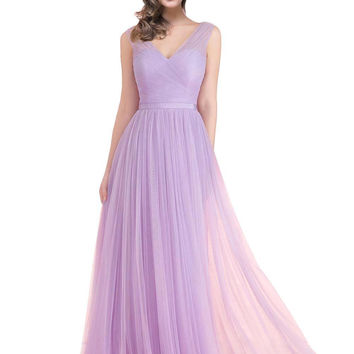 In Stock Cheap Crepe Pleat Girls Junior Camo Lilac Bridesmaid Dresses 2017 A line Floor Length Girls Pageant Dress
