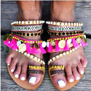 Hot Selling Fashion Collection Handmade Bohemian Flat-soled Sandals Women's Shoes Size 40-43