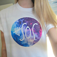 5SOS Five Seconds Of Summer Galaxy Circle Logo Circular White Short Sleeved TShirt Unisex Adult Size Small, Medium, Large, and XLarge