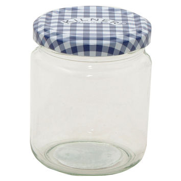 Round Blue Check Jars, 7.7 Oz, Set of 4, Kitchen Canisters, Canning & Spice Jars
