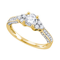 Diamond Bridal Ring with 0.75ct Center Round Stone in 14k Gold 1.15 ctw