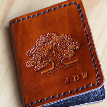 Oak Tree Personalized Leather Wallets, Custom Made Wallet, Hand Stitched Brown Leather Bifold Wallet,Initials Monogrammed Credit Card Wallet