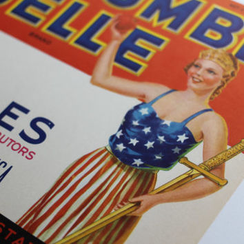 Crate Label Patriotic Columbia Belle Apples from Wenatchee Washington Red White Blue with Sword