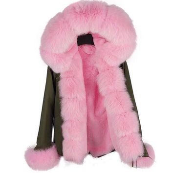 Pink fur parka hooded fur jacket women's overcoat fox fur trimmed long sleeved jacket