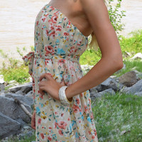 Botanic Beauty Cream Floral Print Strapless Dress