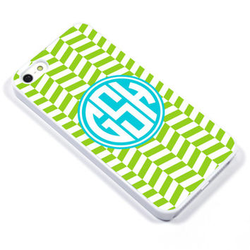 Personalised iPhone Case iPhone 5 iPhone 5s iPhone 5C iphone 4 Samsung Galaxy S3 S4 - Monogram Herringbone geometric green blue - p076