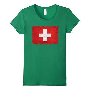 Swiss Flag T-Shirt in Distressed Vintage