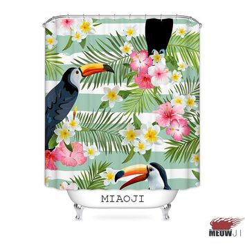 [MIAOJI] Summer Toucan Bairds Tropical Jungle Hawaii Plants Fabric Shower Curtain Bathroom decor various sizes Free Shipping
