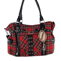 Red Tartan Plaid Punk Rock Purse with Handcuff Skull Charm