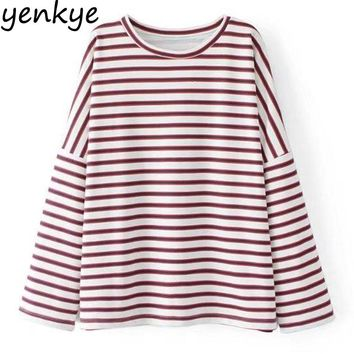 New Autumn Women Striped Sweatshirt Round Neck Long Sleeve Pullover Casual Oversized Hoodie