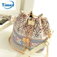 Bohemian Canvas Drawstring Bucket Handbag Purse
