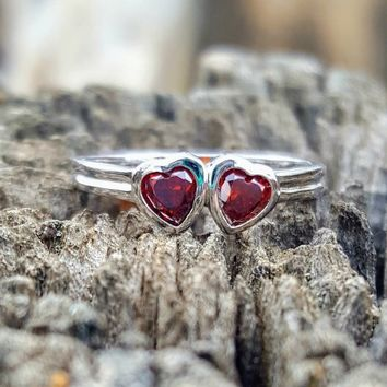 .925 Sterling Silver Garnet Red Twin Heart Ring Size 1-5 Kids Baby and Ladies Midi