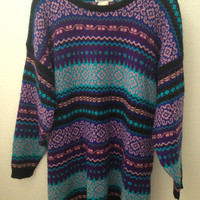 Vintage Purple and Blue 90s Patterned Sweater Dress