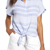 beachlunchlounge Brooklyn Stripe Tie Front Shirt | Nordstrom