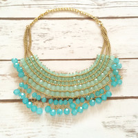 Sky Love Gold Beaded Necklace