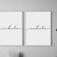 Inhale Exhale Print, Yoga Print, Pilates Poster, Relaxation Gifts, Breathe Print, Inspirational Print, Minimalist Typography Art