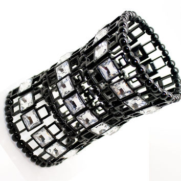 stunning wide black bracelet with square crystals