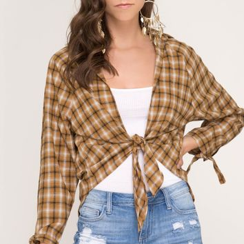 Long Sleeve Plaid Top with Front Tie - Mustard