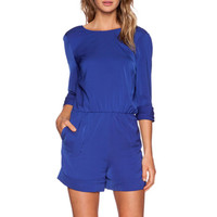 V-Back Romper in Blue