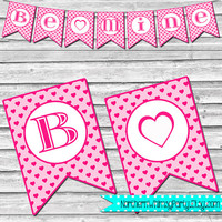 Be Mine Banner – Pink and White Hearts – DIY Printable Valentine's Day Decoration – Printable Heart Bunting – INSTANT DOWNLOAD