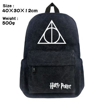 Student Backpack Children FVIP 16 inch Harry Potter Canvas Backpack Student School Backpack Bags for Teenagers Vintage Mochila Casual Rucksack Travel Bag AT_49_3