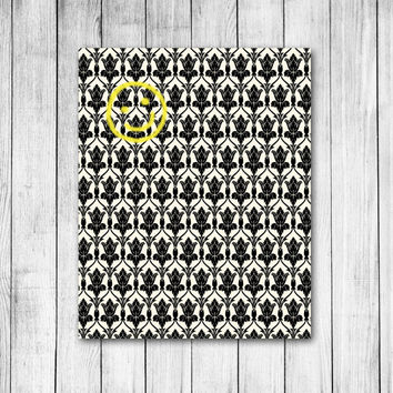 Sherlock Smiley Damask Wallpaper Digital Art Print