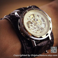 Mens Steampunk Leather Wrist Watch Groomsmen Gift, Anniversary Gift For Men (ET0081-GOLD)