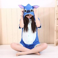 Special Offer Women's Stitch Adult Costume Short Sleeve Cotton Sleep Lounge Onesuits Funny Pajamas Women