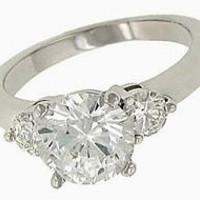 2.65 carat diamonds wedding ring 3-stone gold ring