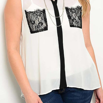 MODA IN LA - Curvy Couture Intense WHITE SLEEVELESS LACE POCKET TOP Plus Size