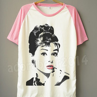 Audrey Hepburn Shirt Audrey Hepburn T-Shirt Fashion T-Shirt Short Sleeve Shirt Short Baseball Shirt Unisex T-Shirt Women T-Shirt Men T-Shirt