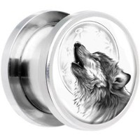 Stainless Steel Howling Wolf Screw Fit Plug Pair 0 Gauge