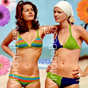 Two 2 Bikini Crochet Pattern 70s Swimsuit Crochet Pattern Retro Ladies Bikini Bra Top Pattern Panty Brief Instant Download PDF Pattern