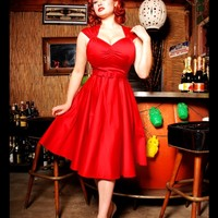 Heidi Dress in Red Sateen | Pinup Girl Clothing