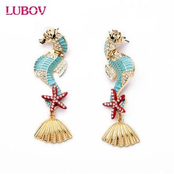 Gorgeous Sea Horses Starfish Seashell Design Personality Statement Earrings Women Fashion Piercing Earrings New Arrival Jewelry