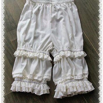 PEAPGC3 Branded Classic White Lolita Shorts Ruffled Lolita Bloomers by Infanta
