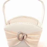 Ivory Matte Satin Flower Girl Basket with Entwined Wedding Bands