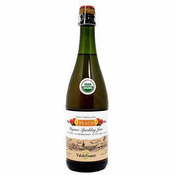 Val de France - Organic Sparkling Apple Peach Juice, 25.4 oz