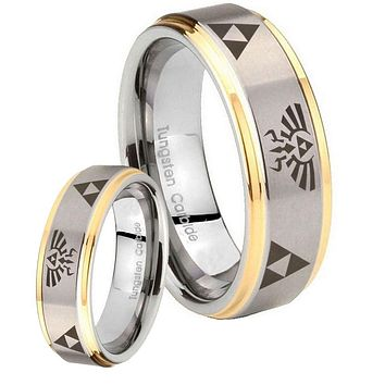 His Hers Legend of Zelda Step Edges Gold 2 Tone Tungsten Mens Ring Set