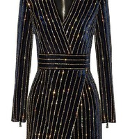 Velvet Crystal Pinstripe Dress