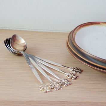 Vintage Russian tea spoons, silver tea spoons with gold plated tips, set of six, early seventies