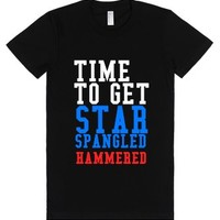 Star Spangled Hammered-Female Black T-Shirt