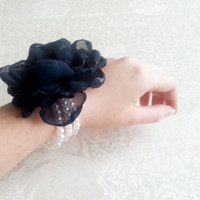 Wrist Corsage, Navy blue chiffon flower, bridesmaid Corsage hand made silk flower faux pearls bracelet