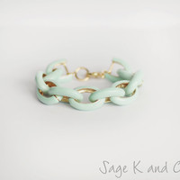 Mint Enamel Link  Bracelet  Chunky Statement by SageKandCo on Etsy