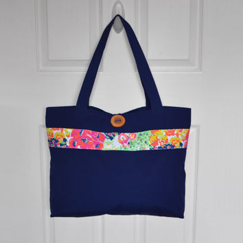 Tote Bag Over Sized Tote Bag Carry All Market Bag Shoulder Bag Solid Bavy Blue Tote Bag Boho Bag Handbag Bohemian Purse Hippie Bag