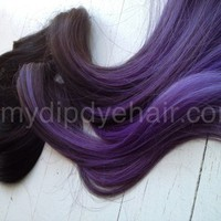 Ombre Hair Extensions/DipDye/Dark Brown Hair/Dark to light purple Fade