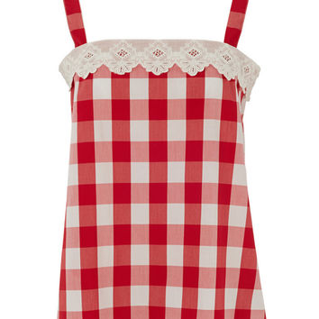 Red Picnic Check Strappy Top by Lowie