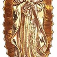 "Simmer Stone 11.8"" Our Lady of Guadalupe Resin Statue, Virgin Mary Figurine, Holy Religious Home and Garden Decor, Gold"