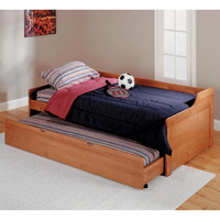 Twin Solid Wood Daybed with Roll-Out Trundle Bed
